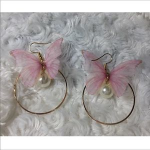 Butterfly Pearl Bead Hoops